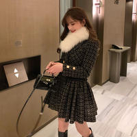 Fur tippet check tweed pleats coat dress(No.301719)【red , black】