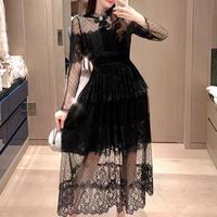 Ribbon brooch dot tulle long dress(No.301046)