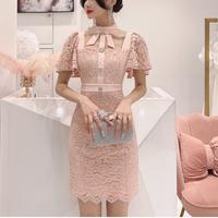 Neck ribbon lace cape dress(No.302179)【3color】