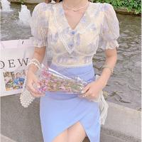 Romantic flower lace docking midi dress(No.302268)