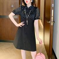 Dot frill blouse docking dress(No.301443)