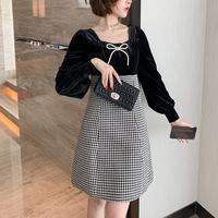 Chidori tweed docking black dress(No.301565)