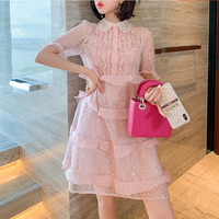 Petite frill millefeuille lacy dress(No.301403)【blue , pink】