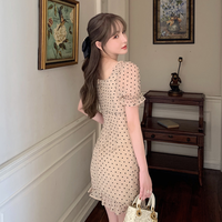 Heart bijou button dot dress(No.301472)