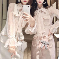 Creamy color blouse & belted tweed dress set(No.300835)【2color】
