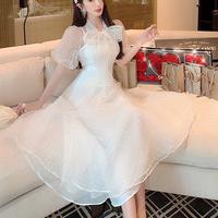 Puff sleeve dot tulle long dress(No.301028)