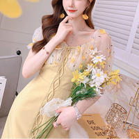 Lemon yellow lace up dress(No.301274)