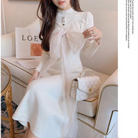 Arrange tulle ribbon long knit dress(No.030947)