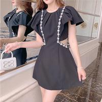 Cutting line bijou black dress(No.302314)