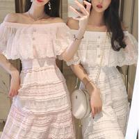 Bijou button off shoulder long dress(No.301107)【3color】