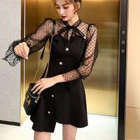 Asymmetry dot tulle ribbon dress(No.301526)