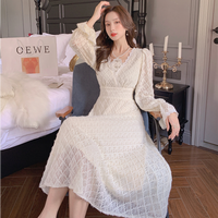 Waffle lace pearl necklace dress(No.030930)