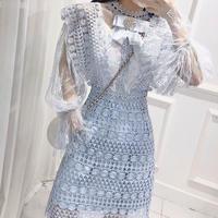 Sheer color crochet lace dress(No.301031)【3color】