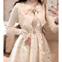 Ribbon brooch v-cut star dress(No.300879)【2color】