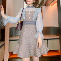 Fairy blue lacy tweed dress(No.301593)