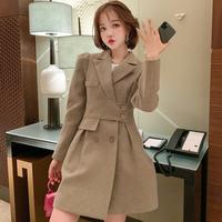 Puff sleeve latte suit dress(No.301709)【white , latte】