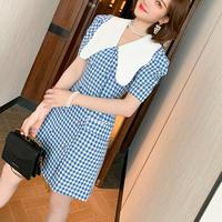 Lady gingham check retro collar dress(No.301177)【black , blue】