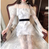 Lady flower lace long dress(No.300965)【2color】