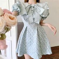 Romantic flower quilting puff sleeve dress(No.302158)【3color/mint , white , black】