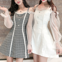A-line tweed tulle sleeve dress(No.301521)【2color】