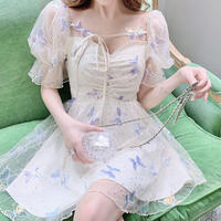 Butterfly lace puff sleeve dress(No.301359)