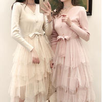 Knit docking tulle millefeuille dress(No.300976)【3color】