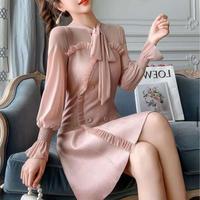 Dusty pink ribbon tie frill dress(No.301734)