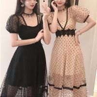 Puff sleeve long dot tulle dress(No.301302)【black , beige】