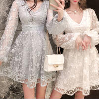 Simple flower lacy dress(No.301054)【3color】