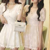 Pearl button check lace dress(No.301294)【2color】