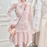 Dreamy tweed dress & blouse set(No.300779)【pink , blue】