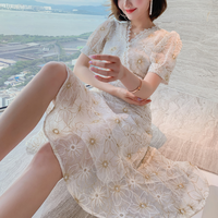 Cross flower lace midi dress(No.301281)