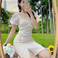 Two way shoulder lady lace dress(No.301340)【black , white】
