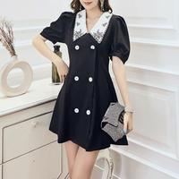 Retro collar puff sleeve dress(No.301130)