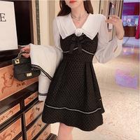 Camellia classic blouse & waffle mini dress set(No.030929)