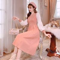 Pleats sleeve knit long dress(No.301701)【black , peach pink】