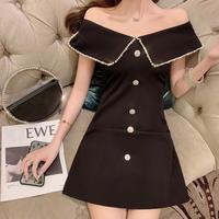 Boat neck bijou line dress(No.301414)