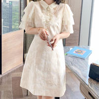 Tulle frill sleeve lady dress(No.301380)