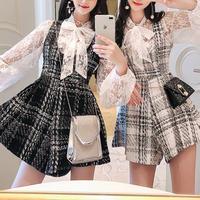 Check tweed suits & blouse set(No.300802)【white , black】