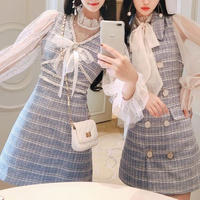 Fairy tweed dress & blouse set(No.300806)【white , blue】
