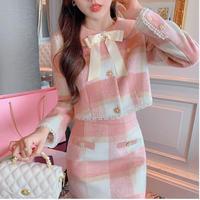 Melton check ribbon collar setup(No.030946)【pink】