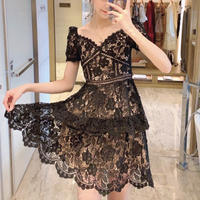 Cutting flower lace black dress(No.300968)