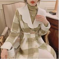 Melton check over silhouette dress coat(No.030951)【pistàcchio】