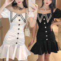 Retro button mono cache-coeur dress(No.301396)【2color】
