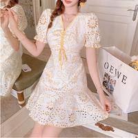 Vitamin lace cotton puff sleeve dress(No.302319)