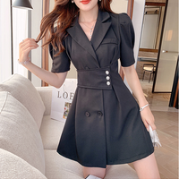 Puff sleeve pearl button jacket dress(No.302121)【black】