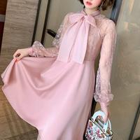 Ribbon tie pink flare dress(No.301541)