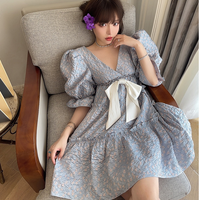 Dreamy puff sleeve waffle dress(No.302112)