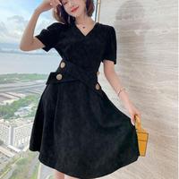 Waist cross button black dress(No.301317)