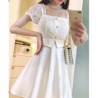 Blink flower tulle dress(No.301434)【black , white】